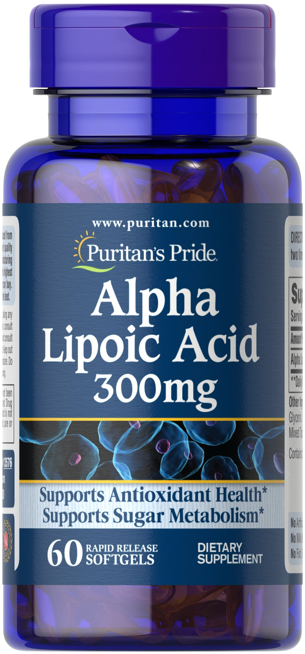 "Alpha Lipoic Acid 300 mg <p>Alpha Lipoic Acid (ALA) helps metabolize sugar, especially in muscles, where it promotes energy.**</p><p>ALA is also beneficial for liver health, and helps to revitalize the underlying structure of the skin so it can look healthier and more radiant.**</p><p>ALA is often called the ""universal antioxidant"" for its ability to help neutralize cell-damaging free radicals.** </p> 60 Softgels 300 mg $11.98"
