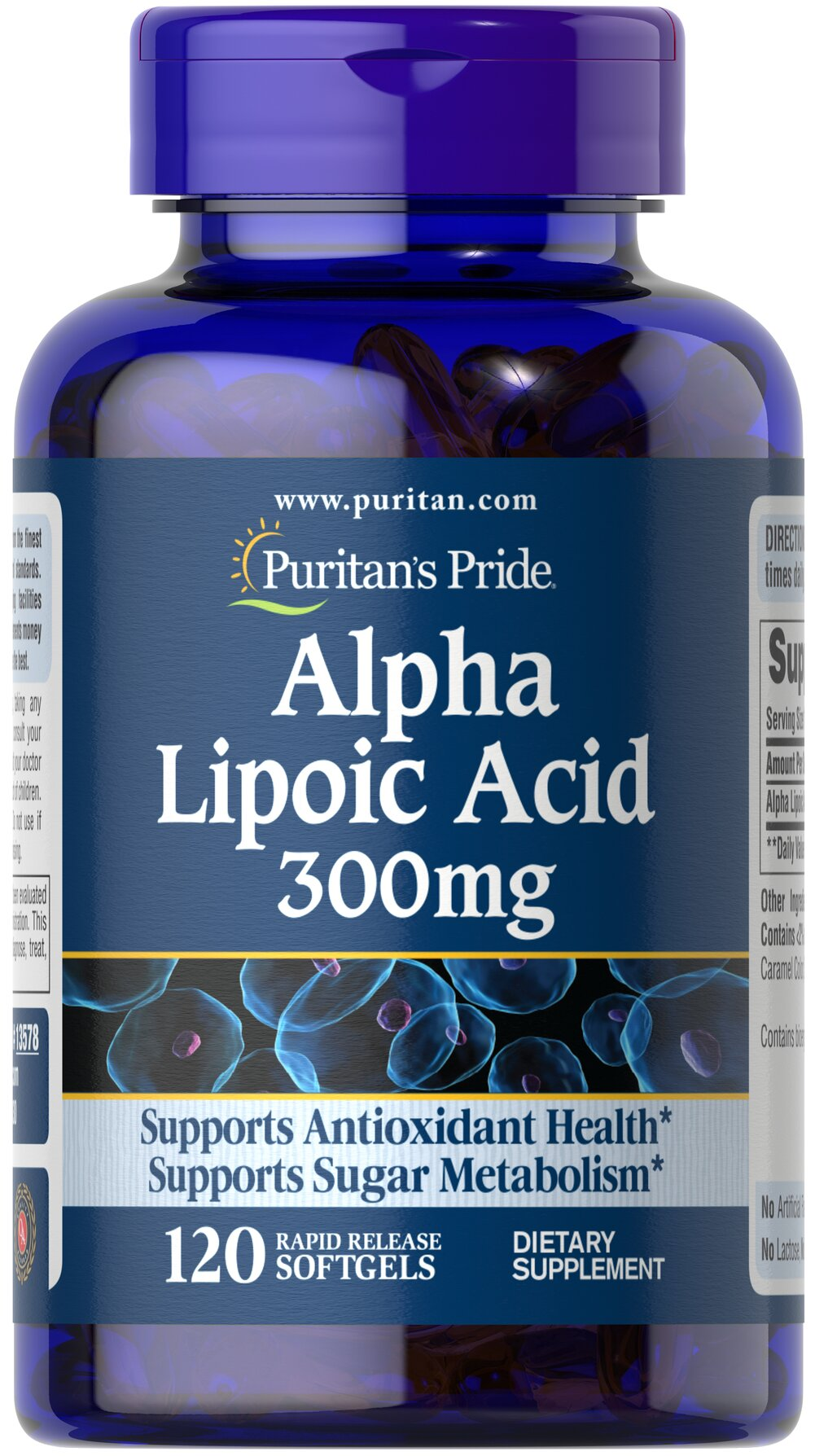 "Alpha Lipoic Acid 300 mg <p>Alpha Lipoic Acid (ALA) helps metabolize sugar, especially in muscles, where it promotes energy.**</p><p>ALA is also beneficial for liver health, and helps to revitalize the underlying structure of the skin so it can look healthier and more radiant.**</p><p> ALA is often called the ""universal antioxidant"" for its ability to help neutralize cell-damaging free radicals.** </p> 120 Softgels 300 mg $8.09"