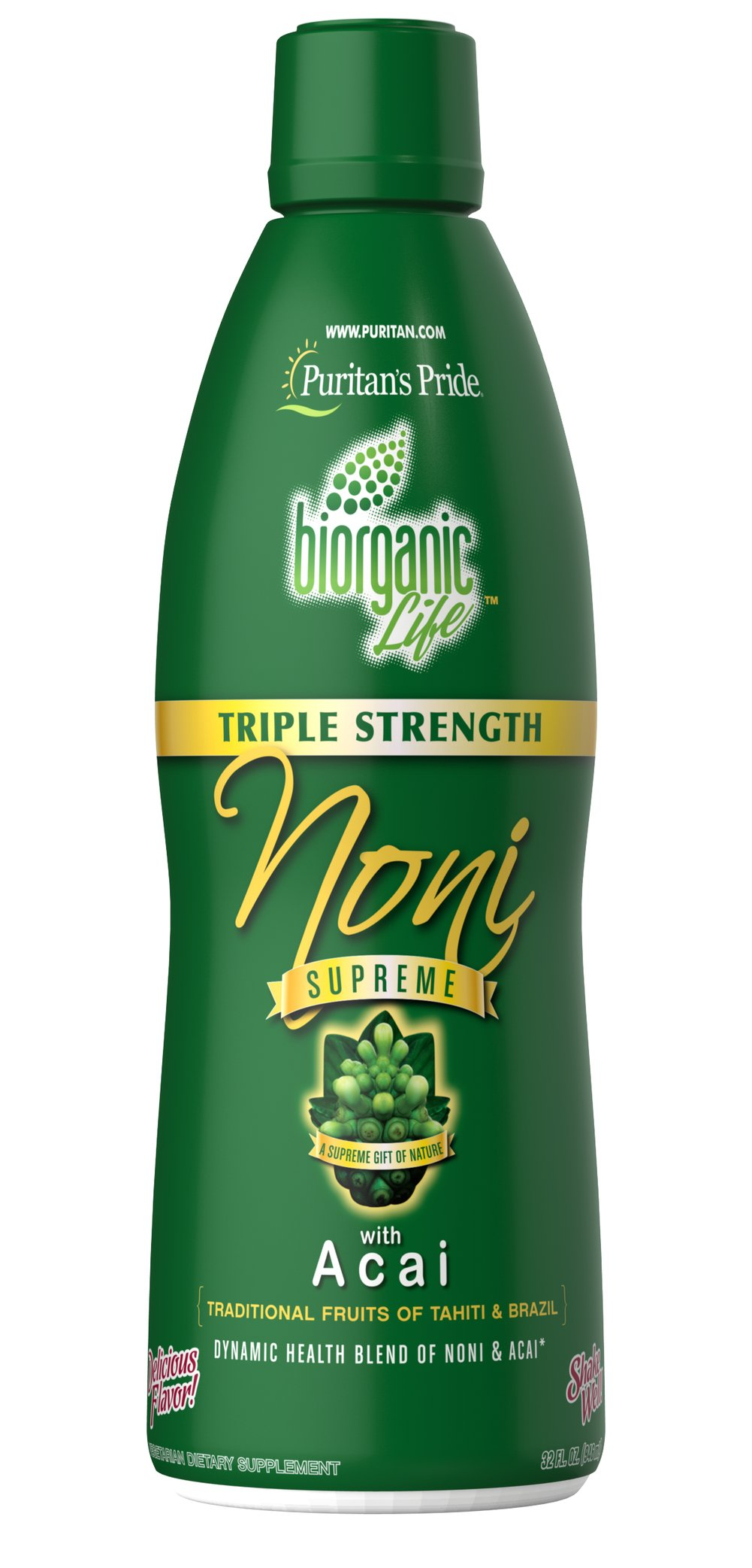 Triple Strength Noni Supreme Juice with Acai <p></p><ul><li>- Synergistic Health Blend of Noni & Acai**</li><li>Traditional Fruits of Tahiti & Brazil</li><li>Delicious Flavor</li><li>Supreme Gift of Nature<br /></li></ul><p>Discover the healthful gifts from the paradise where time began in the goodness of Noni Supreme. This exciting supplement contains Noni, which is sourced from Tahiti and Hawaii