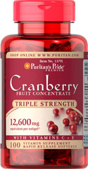 Triple Strength Cranberry Fruit Concentrate 12,600 mg <p>Supports Urinary and Immune System Health**</p><p>Triple Strength Cranberry Concentrate contains 12,600 mg of cranberry concentrate per serving.</p><p>Cranberries contain the nutritional benefits of proanthocyanidins.** This product also contains Vitamin C, an antioxidant that plays a role in supporting immune function, plus Vitamin E.**</p> 100 Softgels 12600 mg $22.99