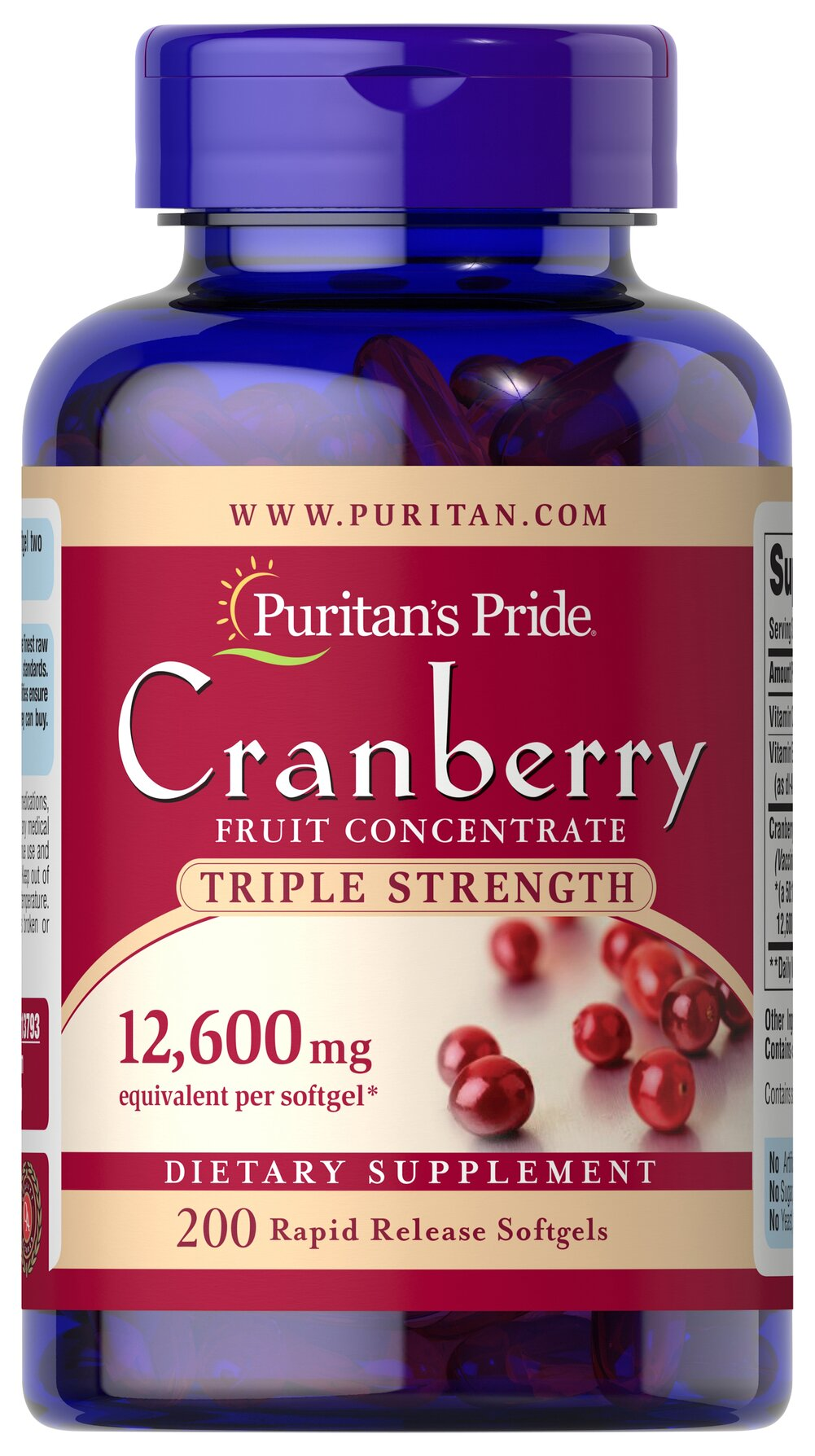 Triple Strength Cranberry Fruit Concentrate 12,600 mg <p>Supports Urinary and Immune System Health**</p><p>Triple Strength Cranberry Concentrate contains 12,600 mg of cranberry concentrate per serving.</p><p>Cranberries  contain the nutritional benefits of proanthocyanidins.** This product  also contains Vitamin C, an antioxidant that plays a role in supporting  immune function, plus Vitamin E.**</p><br /> 200 Softgels 12600 mg $23.99
