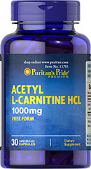 Acetyl L-Carnitine 1000 mg <p>Acetyl L-Carnitine plays a role in the metabolism of food to energy.** Studies indicate that the combination of Alpha Lipoic Acid and Acetyl L-Carnitine helps promote metabolic functioning to fight against free radicals and oxidative stress.**</p> 30 Capsules 1000 mg $14.99