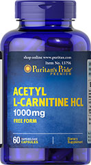 Acetyl L-Carnitine 1000 mg <p>Acetyl L-Carnitine plays a role in the metabolism of food to energy.** Studies indicate that the combination of Alpha Lipoic Acid and Acetyl L-Carnitine helps promote metabolic functioning to fight against free radicals and oxidative stress.**</p>  60 Capsules 1000 mg