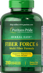 Fiber Force 6 <p>Fiber Force 6 adds roughage to the diet, which is important for digestion and elimination. Fiber Force 6 is a good dietary source of fiber and helps alleviate occasional constipation and maintain regularity.** As a daily addition to your diet, one serving of Fiber Force 6 contributes up to 4 grams of the fiber you need daily to maintain good dietary health.**</p> 200 Capsules  $33.99