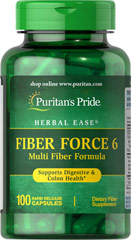 Fiber Force 6 <p>Fiber Force 6 adds roughage to the diet, which is important for digestion and elimination. Fiber Force 6 is a good dietary source of fiber and helps alleviate occasional constipation and maintain regularity.** As a daily addition to your diet, one serving of Fiber Force 6 contributes up to 4 grams of the fiber you need daily to maintain good dietary health.**</p> 100 Capsules  $21.99
