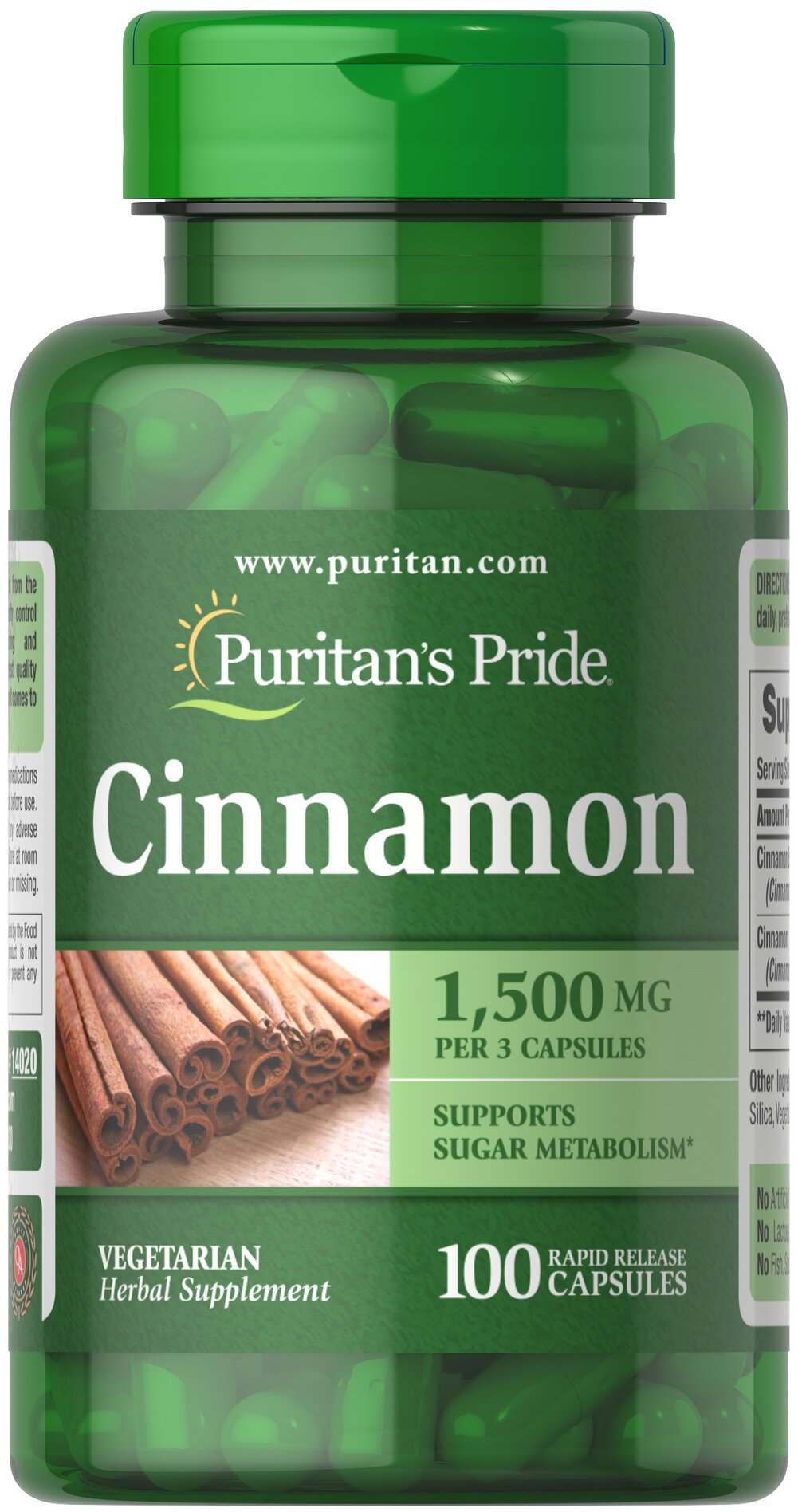 Cinnamon 500 mg <p></p>This ancient herb has been referenced in Oriental scripts dating back thousands of years. Did you know that besides use as a culinary spice, cinnamon has been noted for its antioxidant properties?** As an herbal addition to your health program, cinnamon may help support sugar metabolism.** Puritan's Pride's preservative-free gelatin capsules contain pure milled herb powder. Puritan's Pride's Natural Whole Herb products utilize ground plant parts