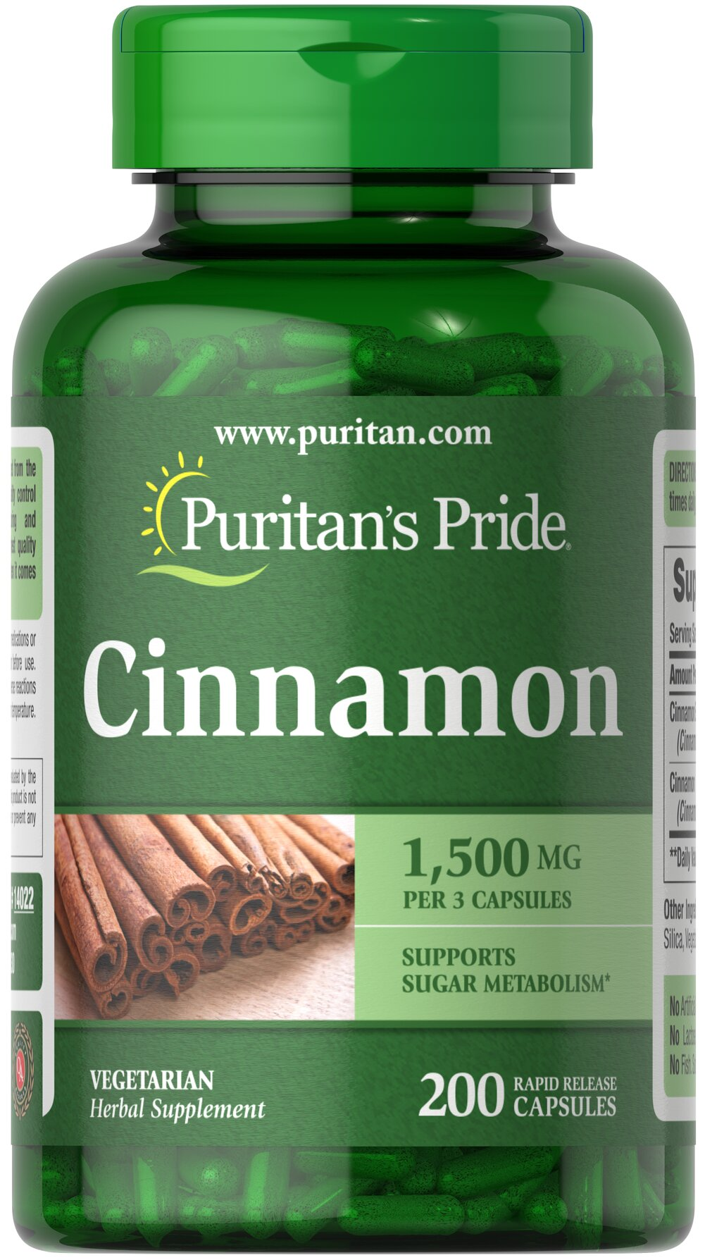 Cinnamon 500 mg <p>This ancient herb has been referenced in Oriental scripts dating back thousands of years. As an herbal addition to your health program, cinnamon may help support sugar metabolism.** Adults can take two capsules a day, preferably with a meal.</p><ul><li>Puritan's Pride's perservative-free gelatin capsules contain pure milled herb powder.</li><li>Puritan's Pride's Natural Whole Herb products utilize ground plant parts to provid