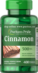 Cinnamon 500 mg <p>This ancient herb has been referenced in Oriental scripts dating back thousands of years. Did you know that besides use as a culinary spice, cinnamon has been noted for its antioxidant properties?** As an herbal addition to your health program, cinnamon may help support sugar metabolism.** Puritan's Pride's preservative-free gelatin capsules contain pure milled herb powder. Puritan's Pride's Natural Whole Herb products utilize ground plant parts to provid