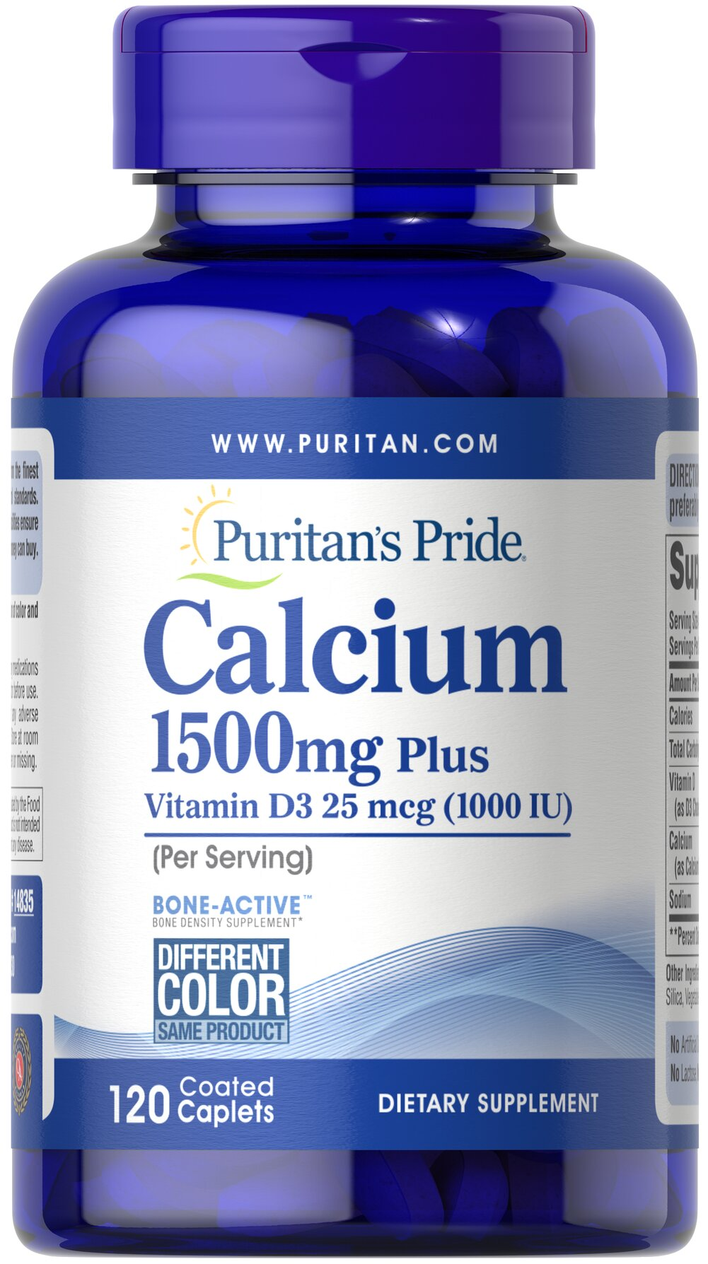Calcium 1500 mg with Vitamin D 1000 IU <p>1500 mg Calcium and 1000 IU Vitamin D per serving</p><p>Contributes to bone strength and well-being**</p><p>A high-potency source of Calcium and Vitamin D</p><p>Since your body can't produce Calcium on its own, a balanced diet, regular exercise, healthy lifestyle choices and adequate intake of Calcium and Vitamin D can play a role in maintaining strong, healthy bones for years to come.**</p> 120 Coated Capl