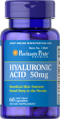 Hyaluronic Acid 50 mg <p>Helps lubricate joints**</p><p>Hyaluronic Acid is a polysaccharide found in almost all adult connective tissue, including joints, ligaments, tendons and skin.** Just one Hyaluronic Acid capsule a day can help maintain the fluid between your joints, providing the cushioning and lubrication necessary for easy movement.**</p> 60 Capsules 50 mg $4.99