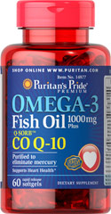 Omega-3 Fish Oil 1000 mg Plus Co Q-10 <p>Omega-3 Fish Oil 1000 mg Plus Co Q-10 30 MG is Purified to eliminate mercury and supports Heart Health**</p> 60 Softgels 1000 mg $13.99