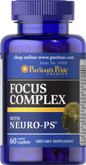 Focus Complex with Neuro-PS® <p>Focus Complex is a combination of nutrients including vitamins, minerals and a proprietary blend. This advanced formula contains Vitamins C and E, Selenium and Zinc to help neutralize cell damaging free radicals.**</p> 60 Caplets  $14.39