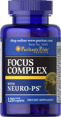 Focus Complex <p>Focus Complex is a combination of nutrients including vitamins, minerals and a proprietary blend. This advanced formula contains Vitamins C and E, Selenium and Zinc to help neutralize cell damaging free radicals.**</p> 120 Caplets  $24.99