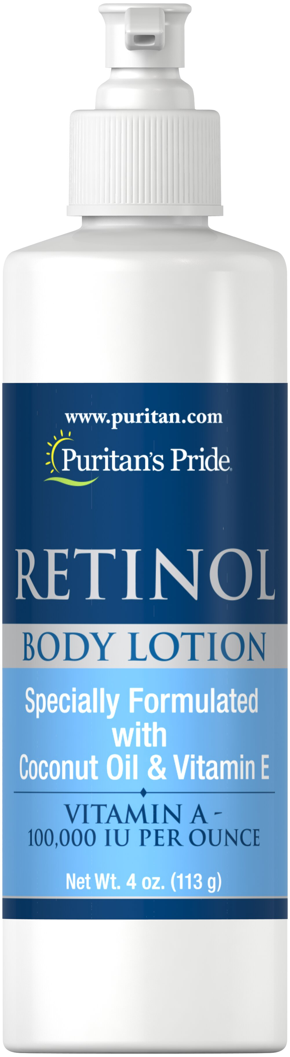 Retinol Body Lotion (Vitamin A 100,000 IU Per Ounce) <p>Vitamin A 100,000 IU per Ounce </p><p>Vitamin A is probably the most important skin vitamin for the appearance of the skin. Vitamin A is also one of the few vitamins that can be absorbed through the skin to provide direct benefits. Let your skin take advantage of the benefits of Vitamin A Lotion.</p> 4 oz Lotion 100000 IU