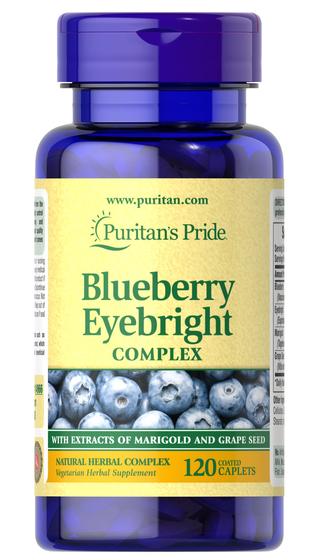 Blueberry Eyebright Complex • Provides powerful antioxidant support for every cell in your body, including the eye's cells**<br />• Blueberry extract is a natural source of two important phytochemicals, anthocyanins and chlorogenic acid, to support antioxidant health**<br />• Eyebright provides additional herbal support for good health<br />• Marigold and Grape Seed extracts are included for extra nutritional support<br />• Our vegetarian-friendly caplets are coated for e