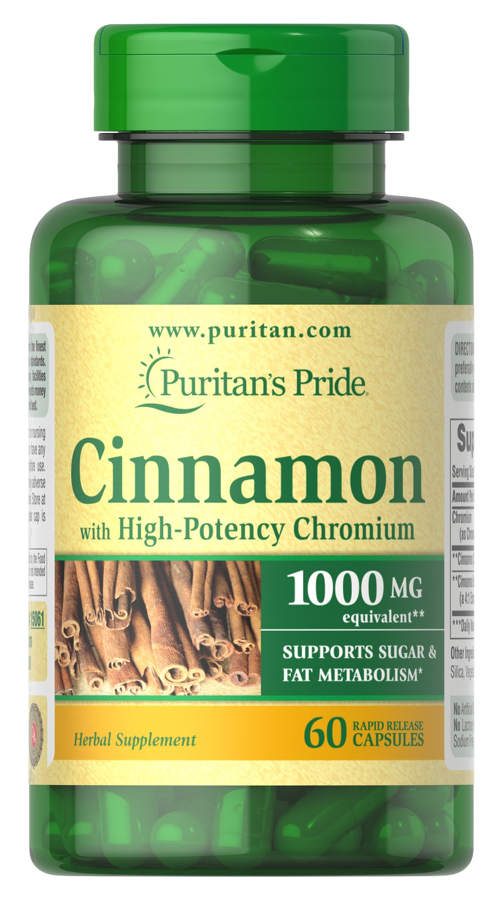Cinnamon Complex with High Potency Chromium <ul><li>SUPPORTS SUGAR & FAT METABOLISM**</li></ul><p>Cinnamon is an ancient herb that has recently gained widespread popularity for its ability to support health and wellness.** This synergistic formula includes high-potency Chromium Picolinate. Specially formulated to deliver 1000 mg Cinnamon and 200 mcg Chromium Picolinate — an unbeatable combination.</p> 60 Capsules 1000 mg $12.99