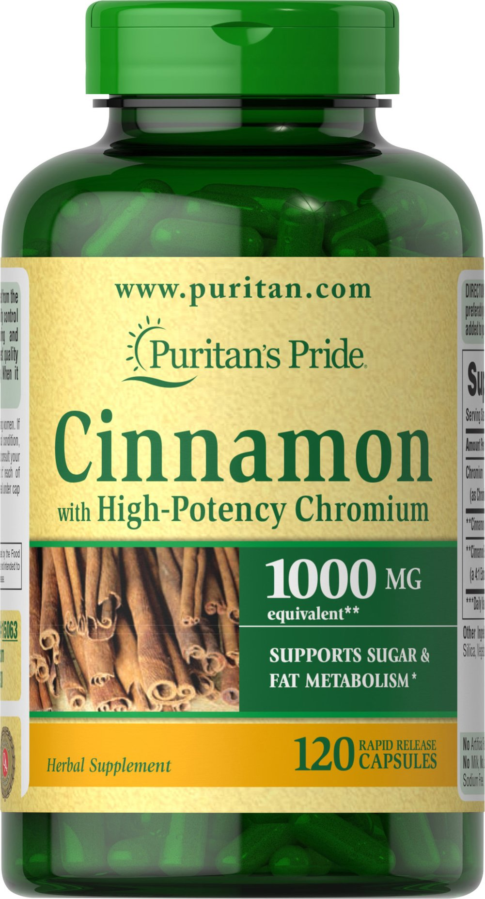Cinnamon Complex with High Potency Chromium <ul><li>SUPPORTS SUGAR & FAT METABOLISM**</li></ul><p>Cinnamon is an ancient herb that has recently gained widespread popularity for its ability to support health and wellness.** This synergistic formula includes high-potency Chromium Picolinate. Specially formulated to deliver 1000 mg Cinnamon and 200 mcg Chromium Picolinate — an unbeatable combination.</p> 120 Capsules 1000 mg $24.99