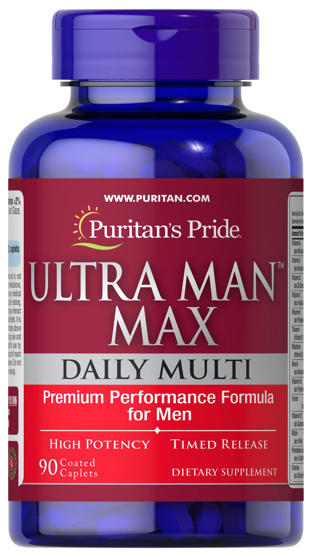 Ultra Man Max <p>•	Premium Daily Multivitamin for Men </p><p>•	High Potency Multivitamin to Support Energy ** </p><p>•	For Men's Most Important Nutritional Needs  </p><p>This exceptional high potency time-release formula is created especially for men who are looking for more from their multivitamin. The balanced multi-nutrient formula in each serving supplies numerous vitamins, minerals, herbs, plant nutrients and other important factors shown to be