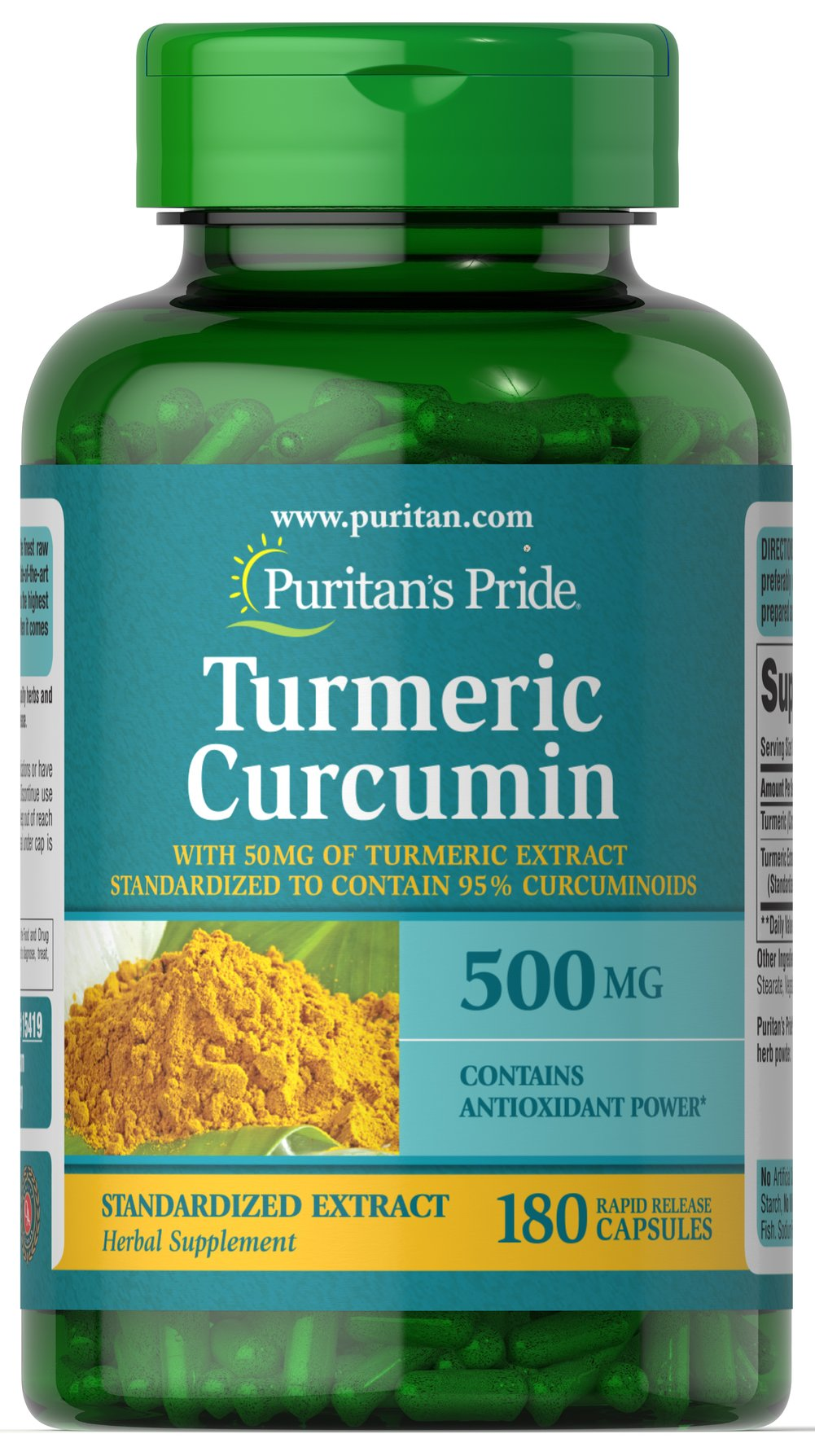 Turmeric Curcumin 450 mg <p>The active ingredients in Turmeric include beneficial flavonoids called Curcuminoids, which are plant-based antioxidants. **</p><p>Contains antioxidants</p> 180 Capsules 450 mg $18.19