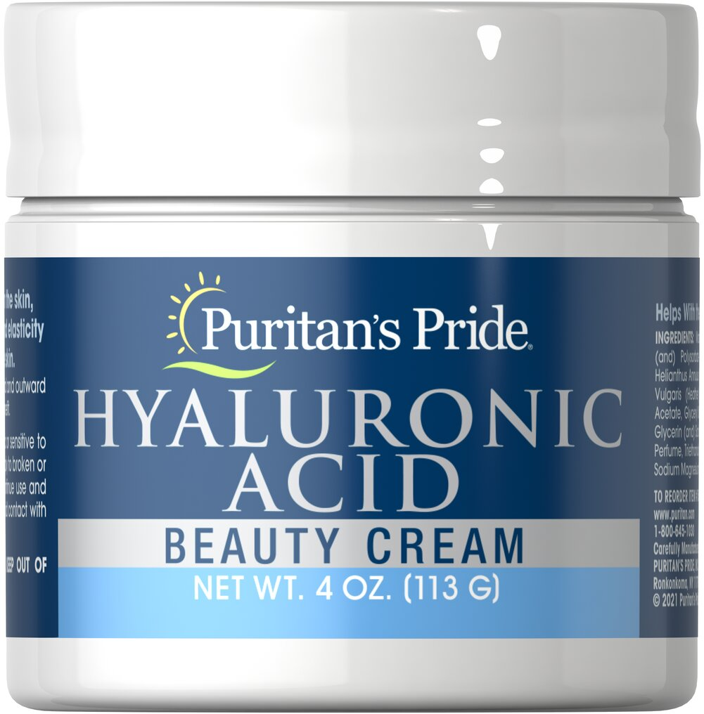 Hyaluronic Acid Beauty Cream <p>Smoothing our Hyaluronic Acid Cream onto your skin in the morning as well as at night can help your skin maintain its firmness and elasticity, giving you a youthful-looking, healthy glow. Radiant, vibrant skin can be yours with Puritan's Pride's Hyaluronic Acid Cream!</p> 4 oz Cream  $16.99