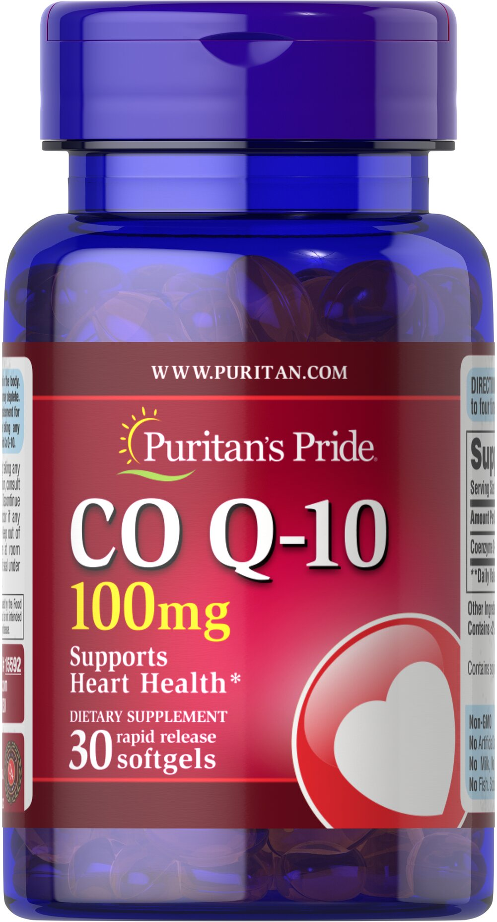 Co Q-10 100 mg <p>Puritan's Pride Q-Sorb™ Co Q-10 provides antioxidant support for your heart and ensures potency and purity.** </p> <p>Our Q-Sorb™ Co Q-10 is hermetically sealed in rapid release softgels to provide superior absorption.</p> <p>Contributes to your heart and cardiovascular wellness**</p> <p>Helps support blood pressure levels already within a normal range**</p> <p>Promotes energy production within your heart, brain, and muscles
