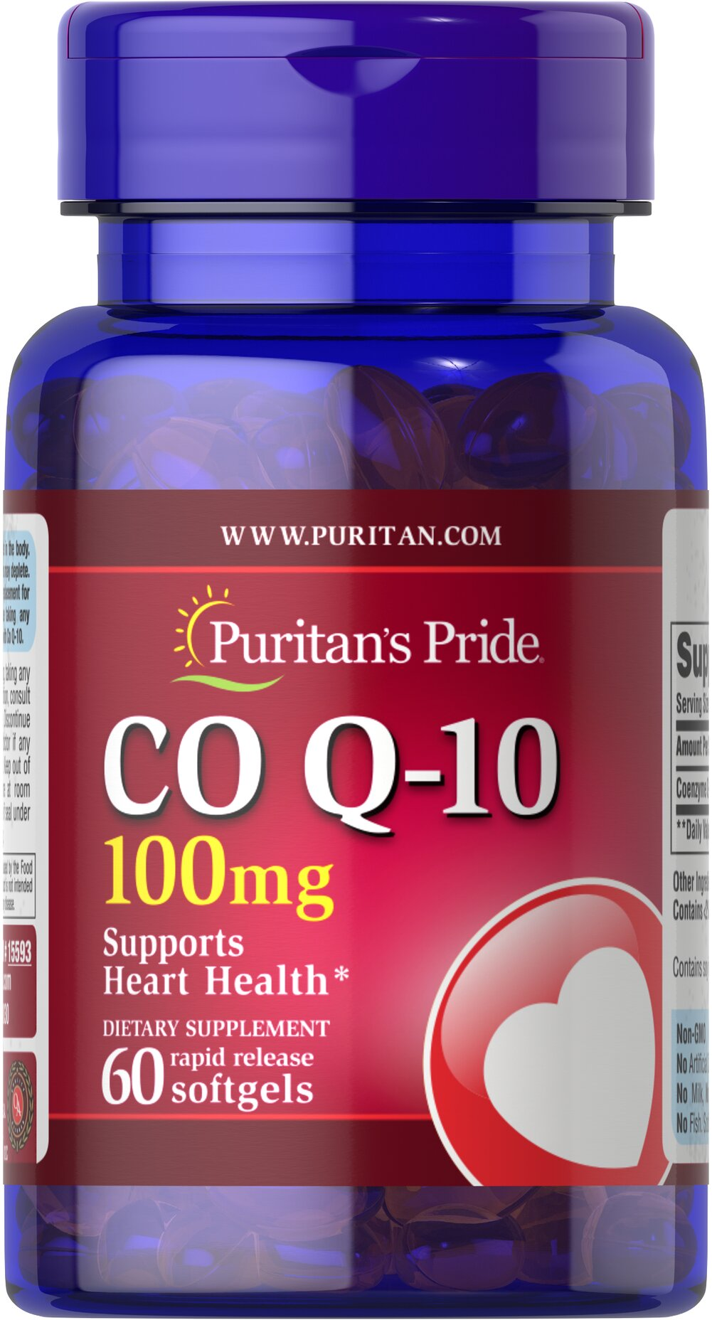 Co Q-10 100 mg <p>Puritan's Pride Q-Sorb™ Co Q-10 provides antioxidant support for your heart and ensures potency and purity.** </p><p>Our Q-Sorb™ Co Q-10 is hermetically sealed in rapid release softgels to provide superior absorption.</p><p>Contributes to your heart and cardiovascular wellness**</p><p>Helps support blood pressure levels already within a normal range**</p><p>Promotes energy production within your heart, brain, and muscles**&l