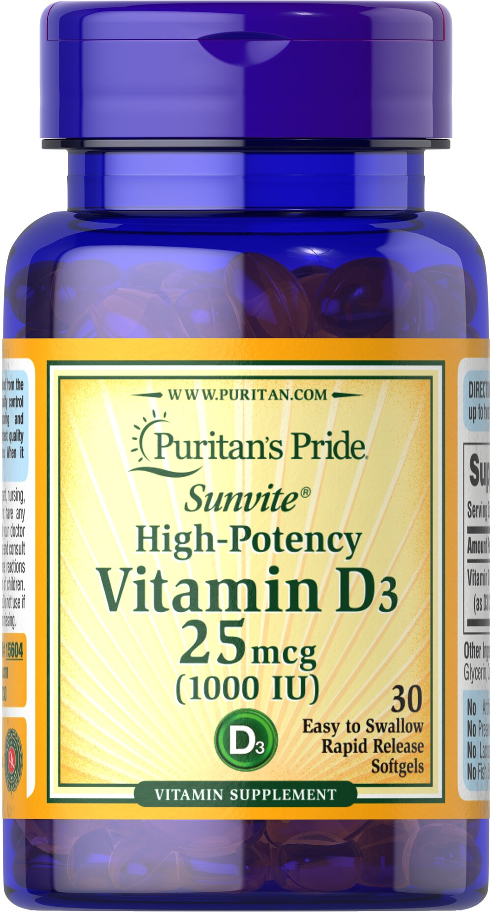 "Vitamin D3 1000 IU <p>Sample the supplement that has been all over the news the past two years – Vitamin D!</p> <p><span></span> Vitamin D is known for helping build <a href=""/bone-health-241?searchterm=bone%20health&rdcnt=1"">bone health</a> , plus it supports a healthy immune system as well as breast and colon health.*</p> 30 Rapid Release Softgels 1000 IU $0.99"