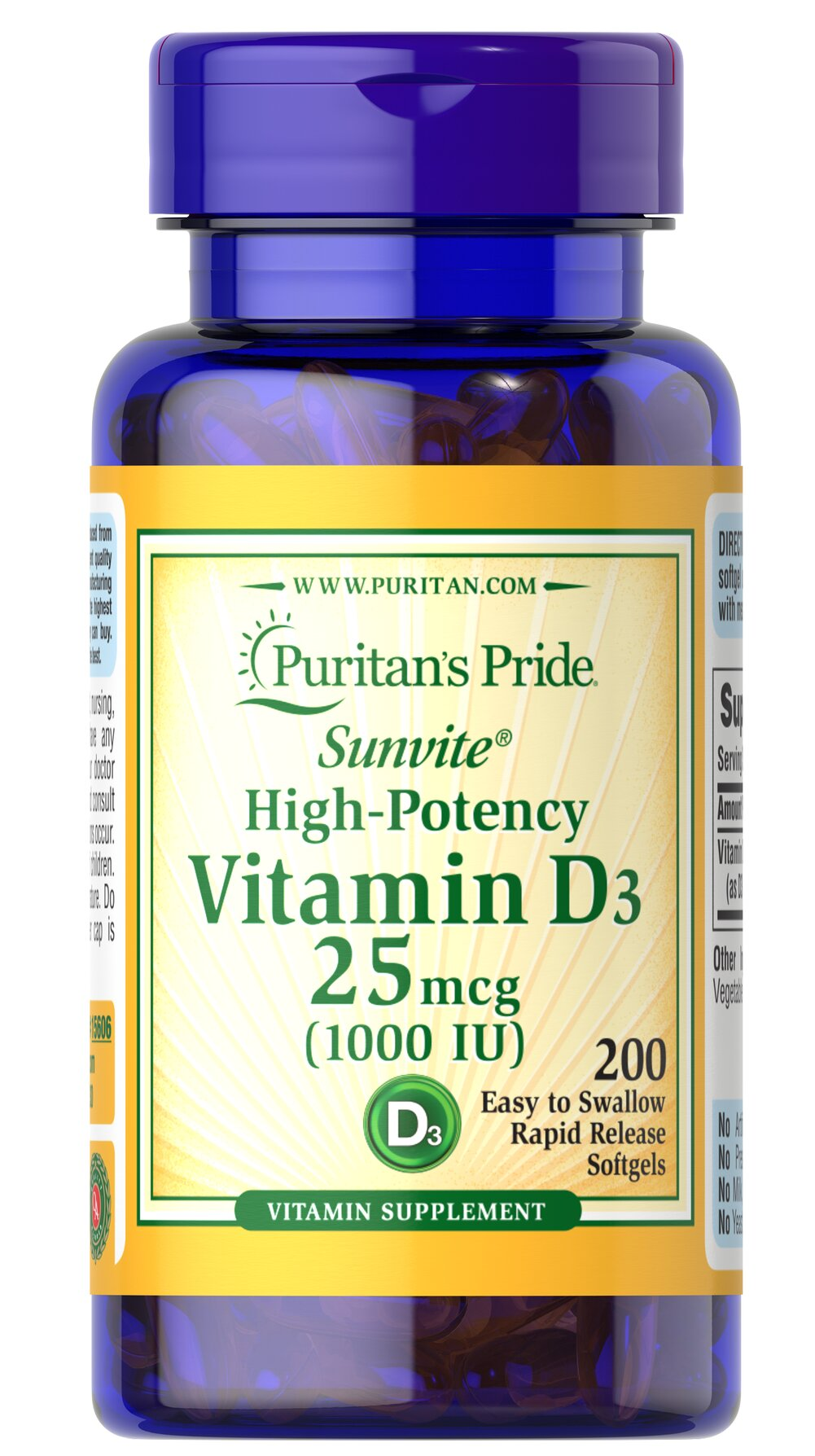 Vitamin D3 1000 IU <p>All Puritan's Pride Vitamin D formulas are Sunvite® D3, a potent and active form of Vitamin D. Together with Calcium, Vitamin D helps develop strong bones and teeth, and also assists in immune system health.**</p><p>Vitamin D3 is a more potent and bioavailable form compared to D2.<br /></p><p>Helps maintain healthy bones in adults. **</p><p>Assists in maintaining a healthy immune system.**</p><p>Supports neuro