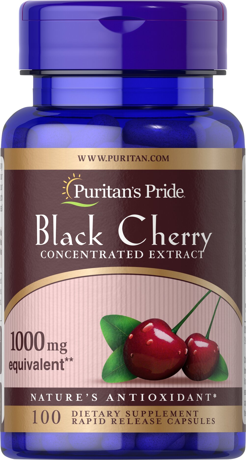 Black Cherry 1000 mg <p>Cherries are known for their natural content of antioxidants and other beneficial components. Black Cherry's beneficial compounds help to give it a rich, dark color that is bursting with nutritional goodness. Now you can easily obtain the benefits of Black Cherry in our convenient Black Cherry capsules. Each serving contains a 4:1 extract of Black Cherry to help retain the most important constituents.</p> 100 Capsules 1000 mg $13.99