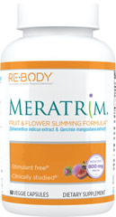 Meratrim® <p><strong>From the Manufacturer's Label:</strong><br /><br />Fruit & Flower Slimming FormulaTM**<br />Stimulant Free**<br />Clinically Studied**<br /><br />Meratrim® brand proprietary blend of natural fruit and flower extracts.  This non-stimulant formula offers 800 mg of Meratrim per day.<br /><br />Manufactured by ReBody</p><p></p><p></p> 60 Vegi Caps 400 mg
