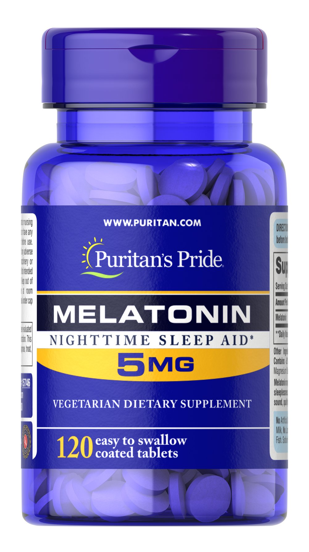 Melatonin 5 mg <p>Sometimes it's hard to unwind after a long day. That's when it's time for Melatonin, a hormone naturally produced in the body that is closely involved in the natural sleep cycle.** It's a terrific choice if you experience occasional sleeplessness or jet lag, or if you want to improve your quality of rest.**  Melatonin helps you fall asleep quickly and stay asleep longer**<br /></p> 120 Tablets 5 mg $13.39