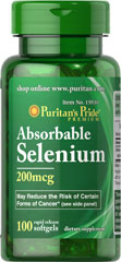 Absorbable Selenium 200 mcg <p>Now this powerful antioxidant is even easier for the body to utilize — new Absorbable Selenium from Puritan's Pride.  It's well known as a significant help in fighting cell-damaging free radicals in the body and in supporting a healthy immune system**. Get all the antioxidant and immune system power of selenium in a readily absorbable form with Puritan's Pride Absorbable Selenium Softgels.**</p> 100 Softgels 200 mcg $8.49