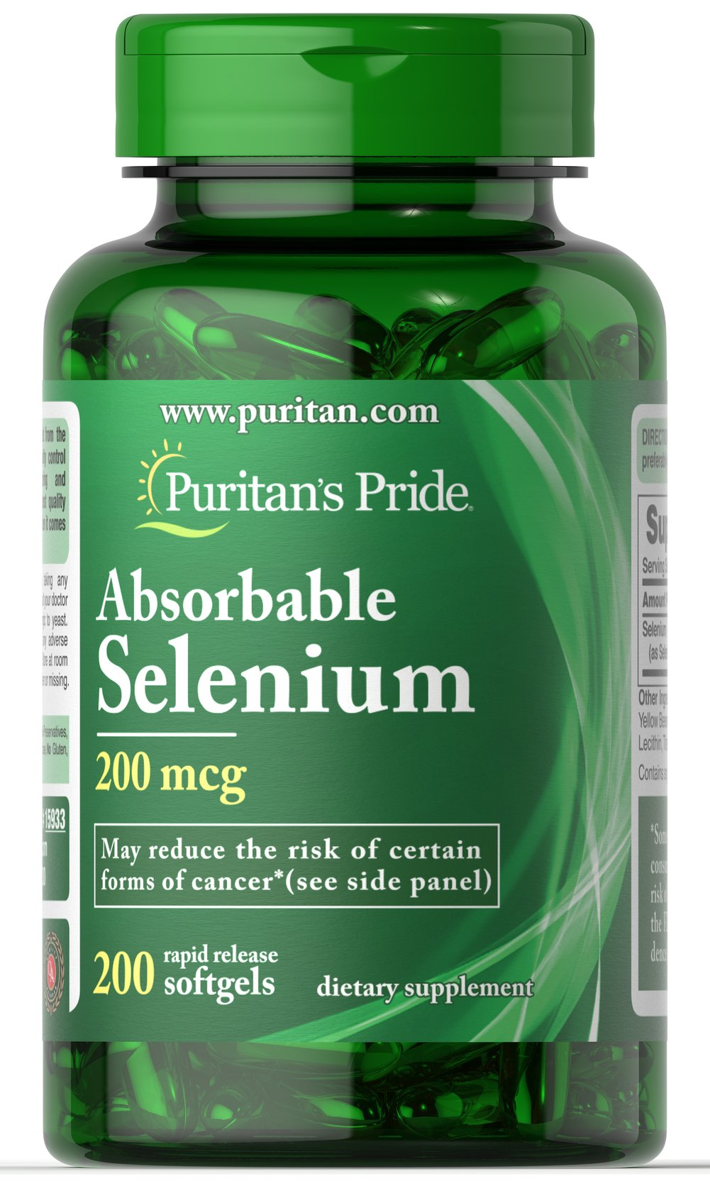 Absorbable Selenium 200 mcg <p>Now this powerful antioxidant is even easier for the body to utilize — new Absorbable Selenium from Puritan's Pride.  It's well known as a significant help in fighting cell-damaging free radicals in the body and in supporting a healthy immune system**. Get all the antioxidant and immune system power of selenium in a readily absorbable form with Puritan's Pride Absorbable Selenium Softgels.**</p> 200 Softgels 200 mcg $14.99
