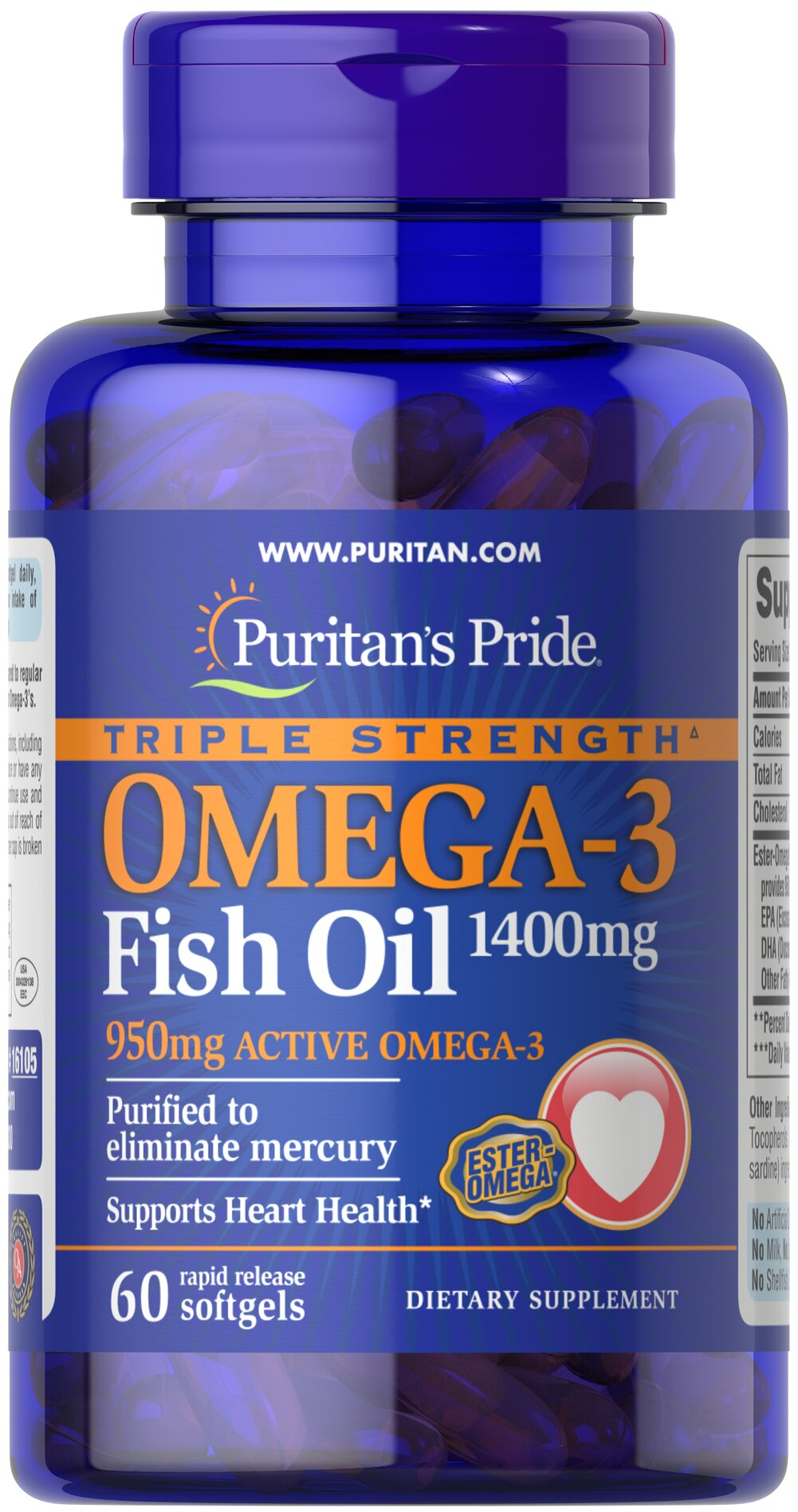 "Triple Strength Omega-3 Fish Oil 1360 mg (950 mg Active Omega-3) Each softgel contains 950 mg of  total Omega-3 fatty acids. Recent  scientific research highlights the importance of getting Omega fatty  acids. Fatty acids - Omega-3, Omega-6 and Omega-9 – are the ""good"" fats  important for cellular, heart and metabolic health.**  Some of these  fatty acids are essential - meaning your body needs them but cannot make  them.** Essential Fatty Acids are required for the structure o"