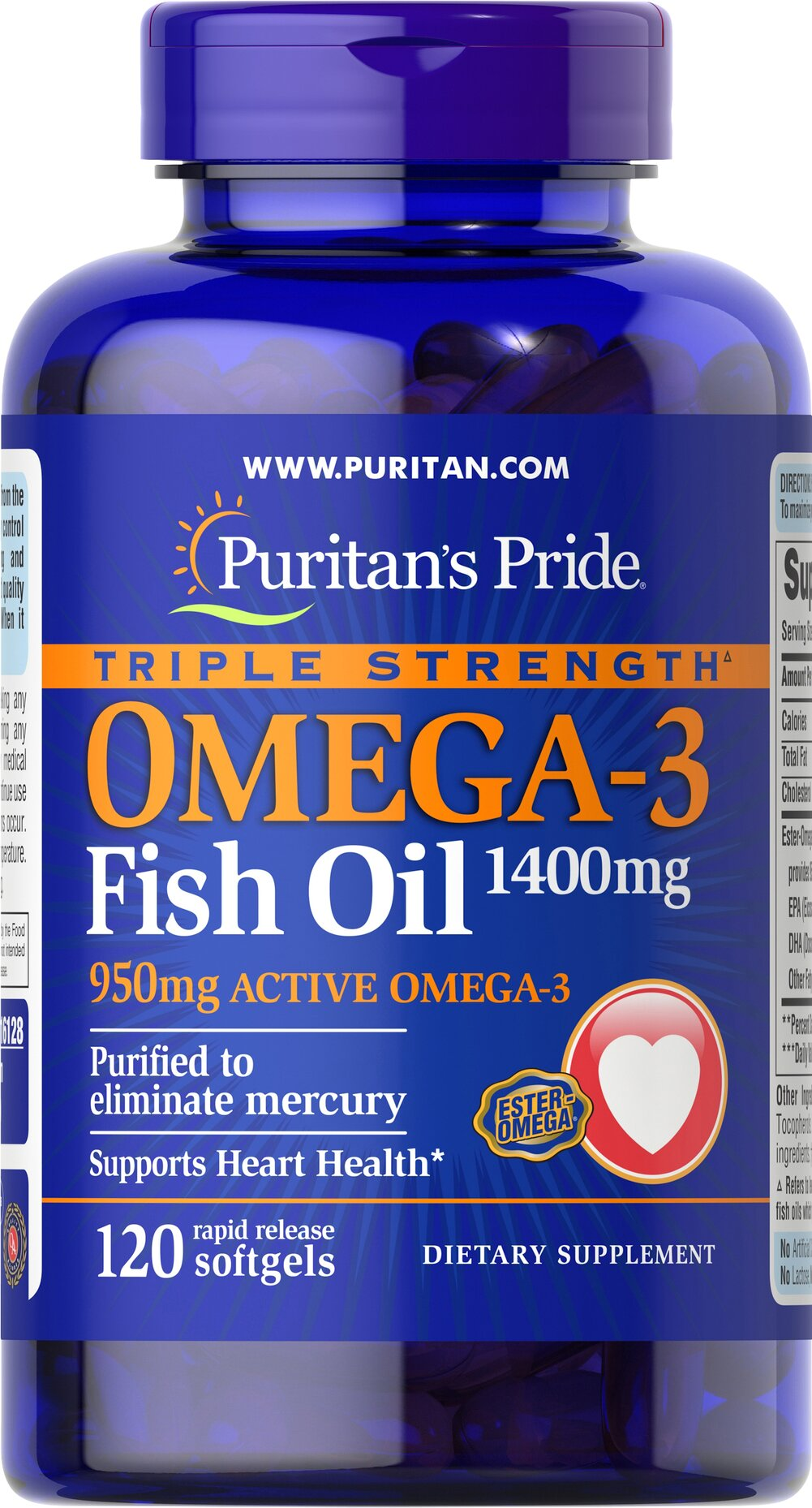 Triple Strength Omega-3 Fish Oil 1360 mg <p><strong>Purified to Eliminate Mercury</strong></p><p>Contains 950 mg of active Omega-3 per softgel — our highest potency! </p> 120 Softgels 1360 mg $39.99