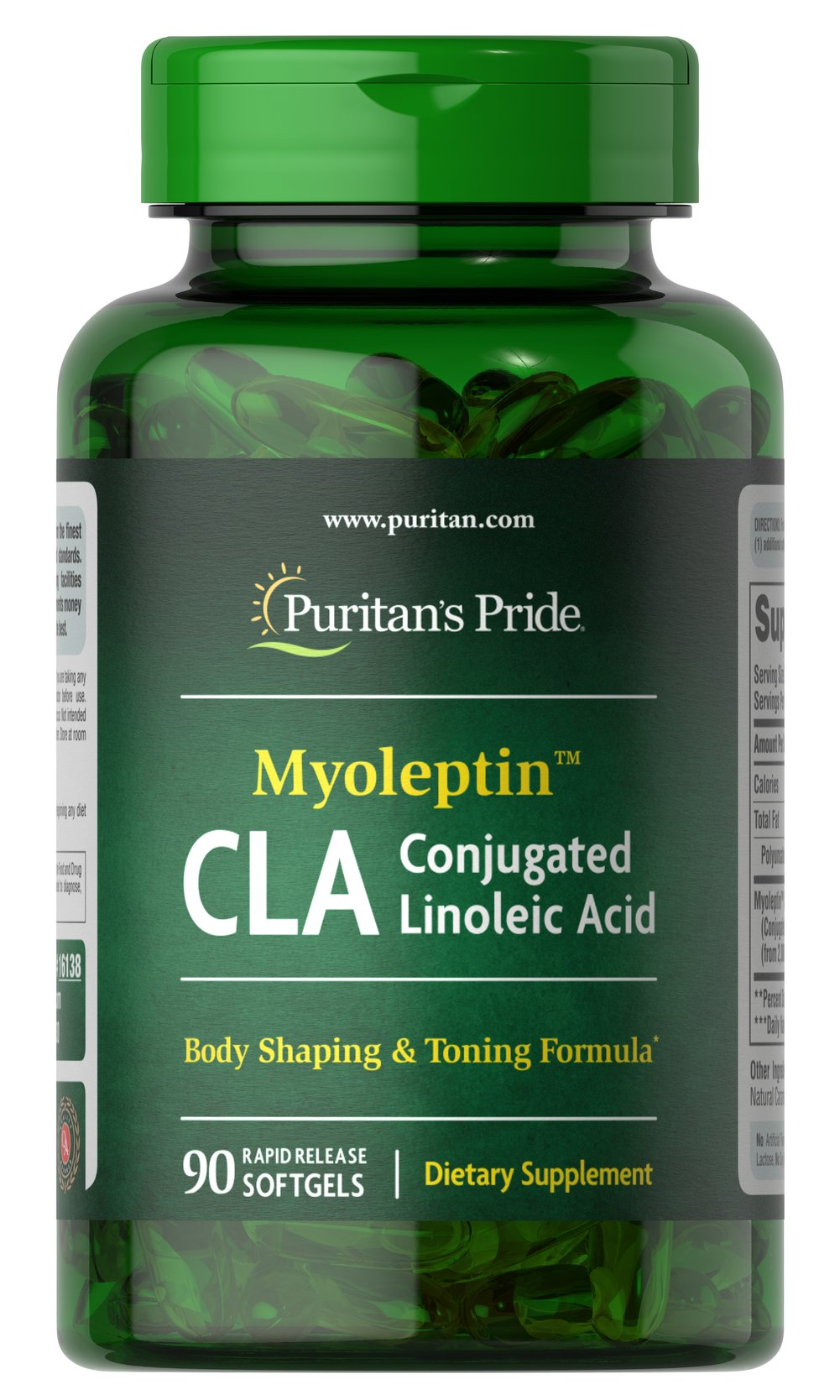 Myo-Leptin™ CLA 1000 mg <p>CLA (Conjugated Linoleic Acid) supports a healthy body composition**</p><p>Derived from Safflower Oil, CLA supports your dieting goals**</p><p>Rapid Release softgels are formulated for quick release into your system</p><p>Use with a reduced calorie diet and daily exercise program</p> 90 Softgels 1000 mg $16.49