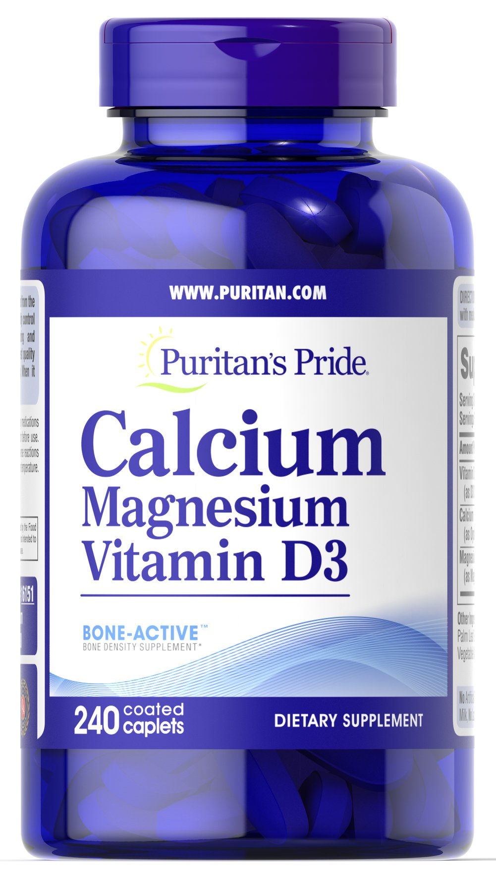 Calcium Magnesium with Vitamin D <p></p>This 3-in-1 supplement contains Bone-Active™ which is formulated to help maintain bone density and strength, supporting optimal bone health.** No matter what your age, you need to care for your bones. Supporting bone health with high-quality Calcium, Magnesium and Vitamin D is simple with this all-in-one supplement. Each of these nutrients plays an essential role in maintaining bone health.** Calcium and Magnesium are important for muscle contr
