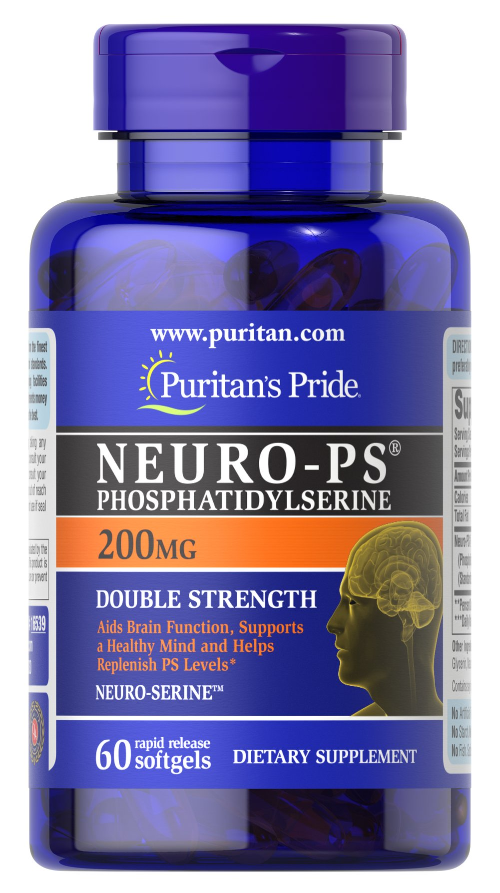 Neuro-PS (Phosphatidylserine) 200 mg <p>Phosphatidylserine (PS):</p><p>Aids Brain Function**</p><p>Supports a Healthy Mind**</p><p>Helps Replenish PS levels**</p><p>Very limited and preliminary scientific research suggests that PS may reduce the risk of cognitive dysfunction in the elderly. The FDA concludes that there is  little scientific evidence supporting this claim.</p><p>Available in 100, 200 and 300 milligram potencies<
