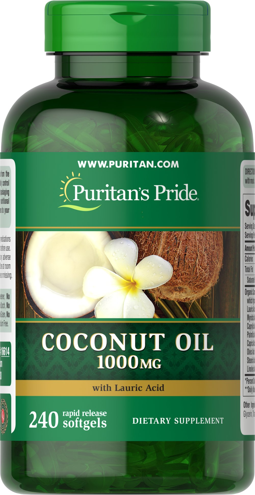 Coconut Oil 1000 mg Coconuts are enjoyed in tropical regions around the world and now you can enjoy the benefits of Coconut Oil in a convenient softgel. Coconut Oil provides you with a natural energy source, and contains essential fatty acids and Medium Chain Triglycerides (MCTs). MCTs are oxidized differently in the body than other fats, making Coconut Oil a readily available energy source.**  240 Softgels 1000 mg $37.99