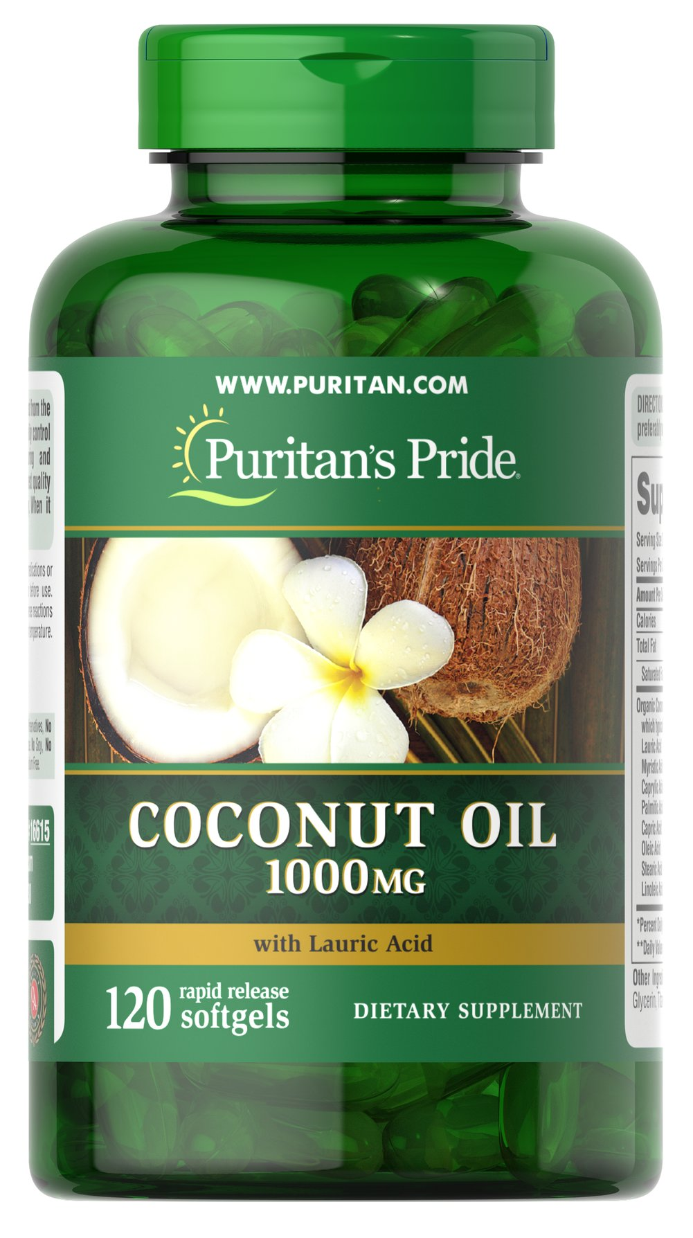 Coconut Oil 1000 mg <p>Coconuts are enjoyed in tropical regions around the world and now you can enjoy the benefits of Coconut Oil in a convenient softgel. Coconut Oil provides you with a natural energy source, and contains essential fatty acids and Medium Chain Triglycerides (MCTs).   MCTs are oxidized differently in the body than other fats, making Coconut Oil a readily available energy source.**</p> 120 Softgels 1000 mg $15.98