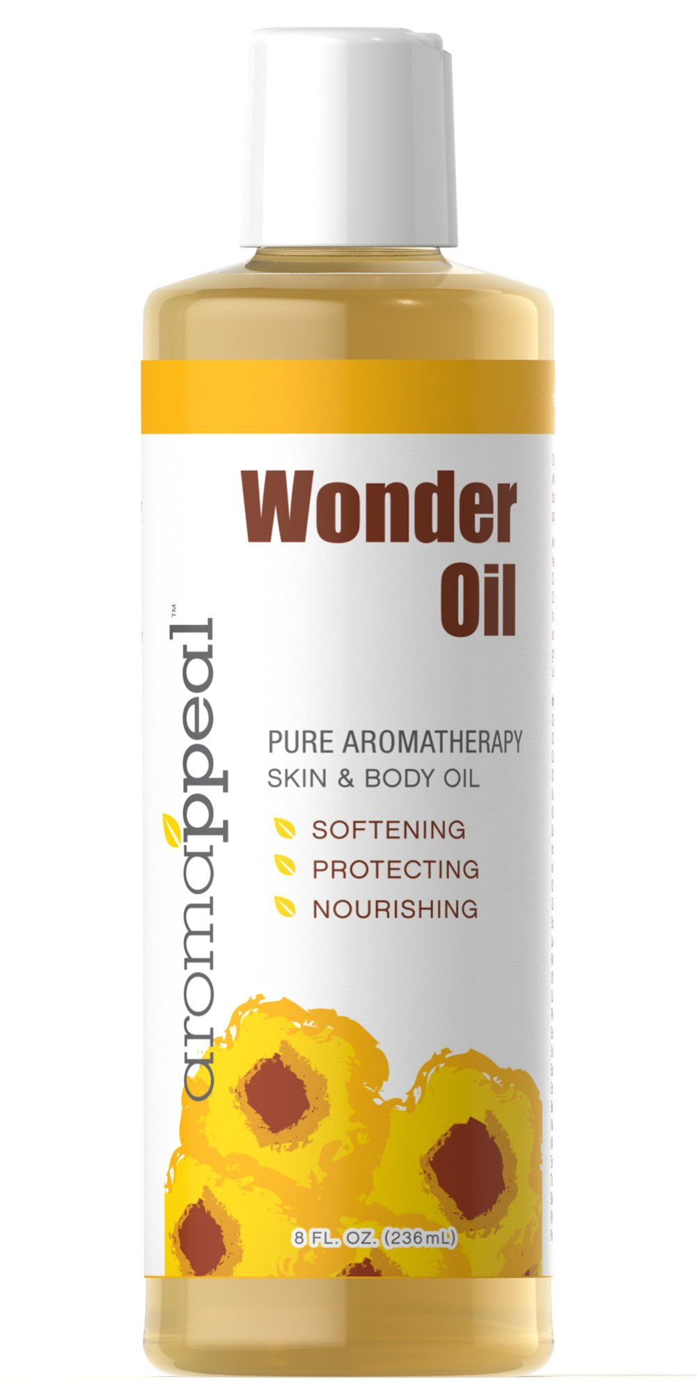 Wonder Oil <p><strong></strong></p><p><strong>This product is a customer favorite!</strong></p><p>A wonderful fusion of oils, herbs and fruits for the body. Includes a medley of Olive, Sunflower Seed, Wheat Germ, Sweet Almond, Sesame and Jojoba Oils Enriched with the lively citrus scents of Grapefruit, Lemon and Orange.</p><p>Use this Aromappeal product as a hot oil treatment for the hair, as a bath oil, or as a hair, body, massag