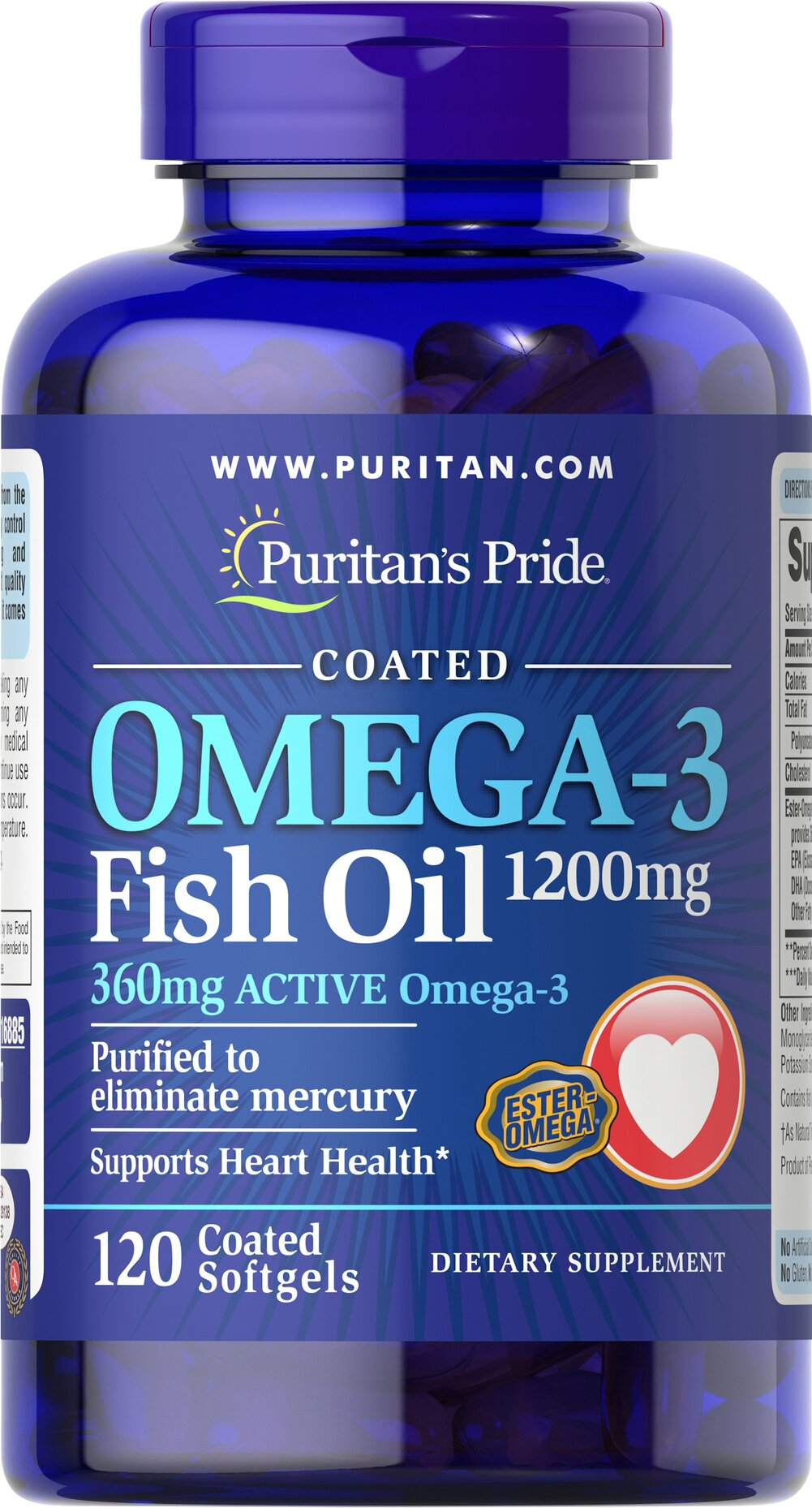 "Omega-3 Fish Oil Coated 1200 mg <p><span></span>Provides 360mg of Total Omega-3 Fatty Acids.</p><p><span></span>Supports heart health.**</p><p><span></span>Purified to eliminate mercury.</p><p>Our Ester-Omega® Omega-3 Fish Oil provides 360mg of active Omega-3, consisting of EPA, DHA and other fatty acids. EPA & DHA fatty acids are ""good"" fats that can help to balance the ""bad fats"" in your diet,"