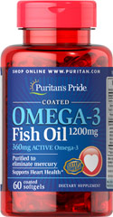 "Coated Omega-3 Fish Oil 1200mg <p><span></span>Provides 360mg of Total Omega-3 Fatty Acids.</p> <p><span></span>Supports heart health.**</p> <p><span></span>Purified to eliminate mercury.</p> <p>Our Ester-Omega® Omega-3 Fish Oil provides 360mg of active Omega-3, consisting of EPA, DHA and other fatty acids. EPA & DHA fatty acids are ""good"" fats that can help to balance the ""bad fats"" in your diet, pl"