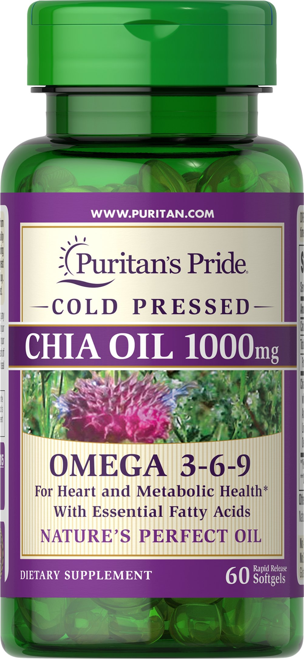 Omega 3-6-9 Chia Seed Oil 1000 mg <p>Chia Oil is perfect for anyone looking for a non-fish source of essential omega fatty acids for health and wellness.**</p><p>Lab analysis indicates that Chia Oil may even have a higher concentration of essential fats as compared to flaxseed oil, which is generally considered to be the best plant source of Omega-3 fatty acids. **</p> 60 Softgels 1000 mg $21.59