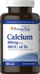 Calcium 600mg plus Vitamin D 400IU <p>Puritan's Pride® Premium supplements are produced from the finest raw materials under our stringent quality control standards. Our state-of-the-art manufacturing and packaging facilities insure you the highest quality nutritional supplements money can buy. When it comes to your health...choose the best. </p><p></p><p></p> 100 Caplets 600 mg/400 IU $3.99