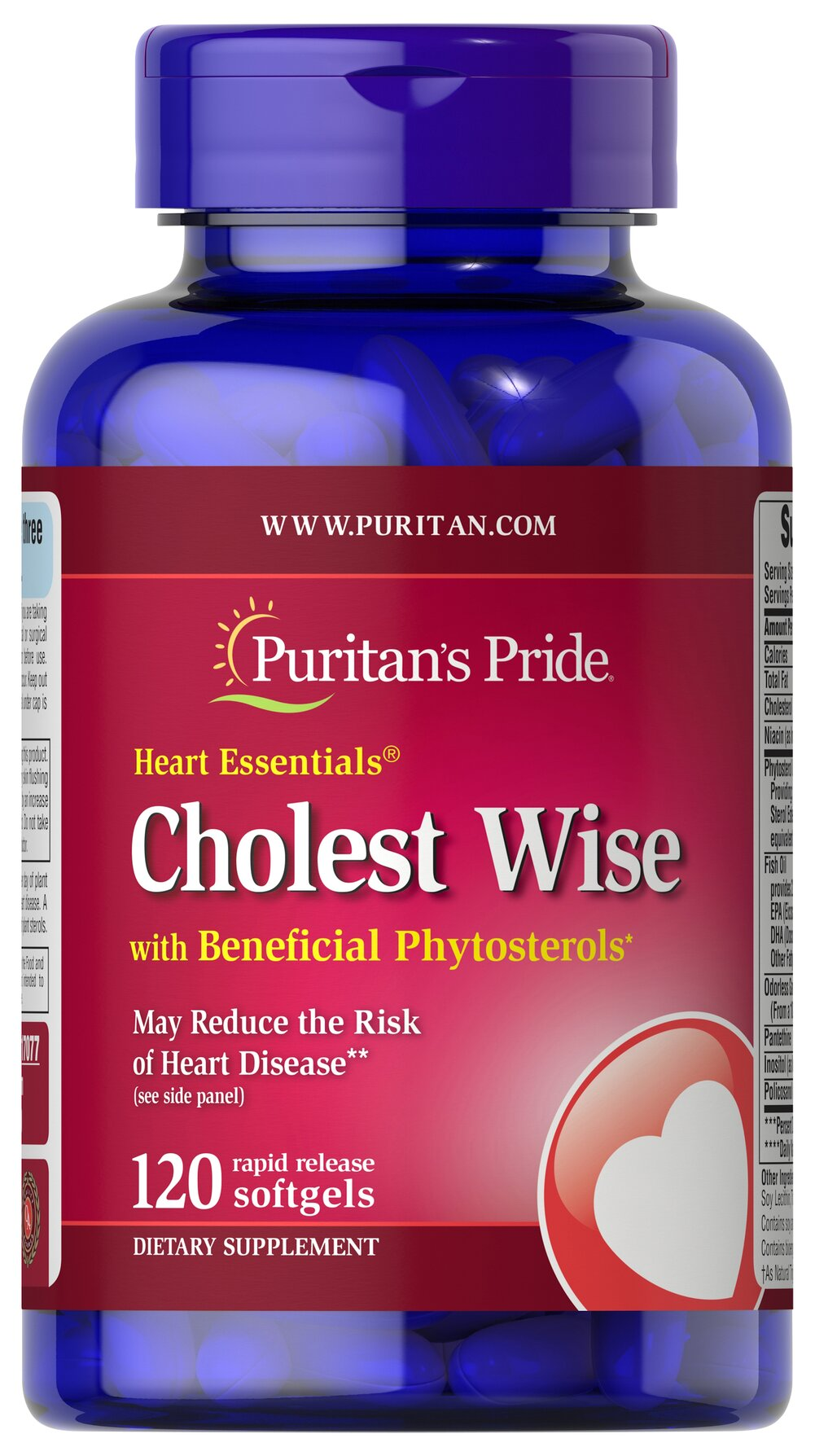 Heart Essentials™ Cholest Wise with Plant Sterols <p>Cholest Wise is an innovative supplement that also works to promote cardiovascular and circulatory wellness.**</p><p>Contains several beneficial ingredients: Flush Free Niacin, Garlic, Fish Oil with Omega-3 Fatty Acids, Policosanol, Plant Sterols, and Pantethine.</p><p>May reduce the risk of heart disease.†</p><p>†Diets low in saturated fat and cholesterol that include 2 g per day of plant sterols eate