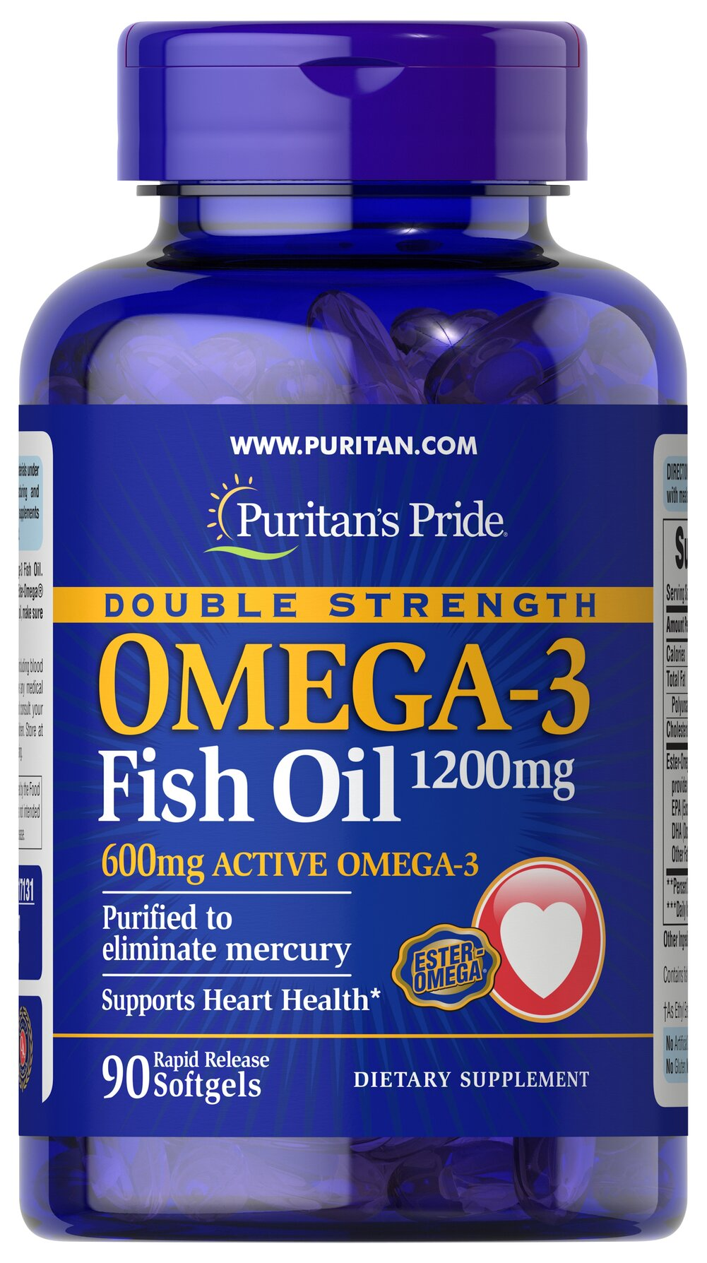 Double Strength Omega-3 Fish Oil 1200 mg/600 mg Omega-3 <p><span></span>Provides 600 mg of Active Omega-3.</p><p><span></span>Omega-3 fatty acids are important for heart health.**</p><p><span></span>Purified to eliminate mercury.</p><p>Each double strength Omega-3 fish oil softgel contains 1200mg of Ester-Omega® Fish Oil. This provides 600 mg of Total Omega-3 Fatty Acids comprising of DHA, EPA and other fatty acid