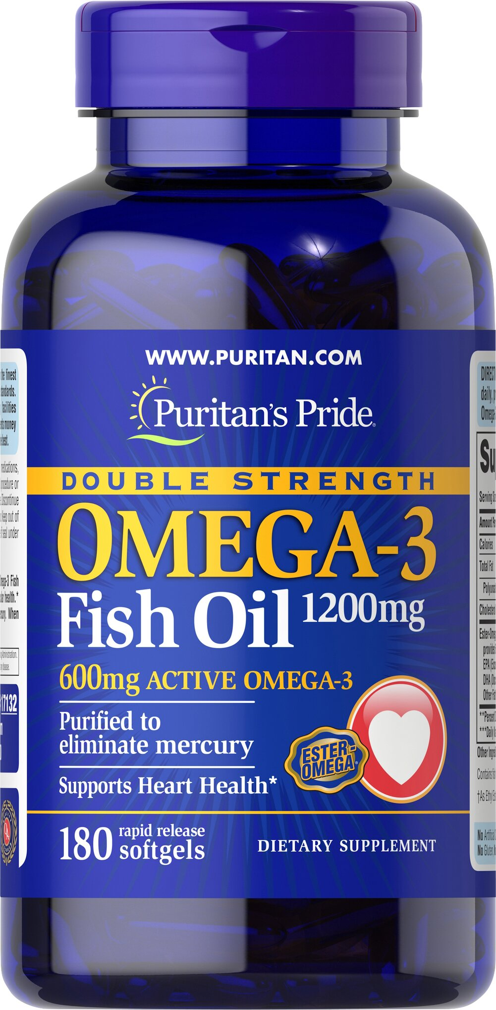 Double Strength Omega-3 Fish Oil 1200 mg <p><span></span>Provides 600 mg of Active Omega-3.</p><p><span></span>Omega-3 fatty acids are important for heart health.**</p><p><span></span>Purified to eliminate mercury.</p><p>Each double strength Omega-3 fish oil softgel contains 1200mg of Ester-Omega® Fish Oil. This provides 600 mg of Total Omega-3 Fatty Acids comprising of DHA, EPA and other fatty acids. Supportive b