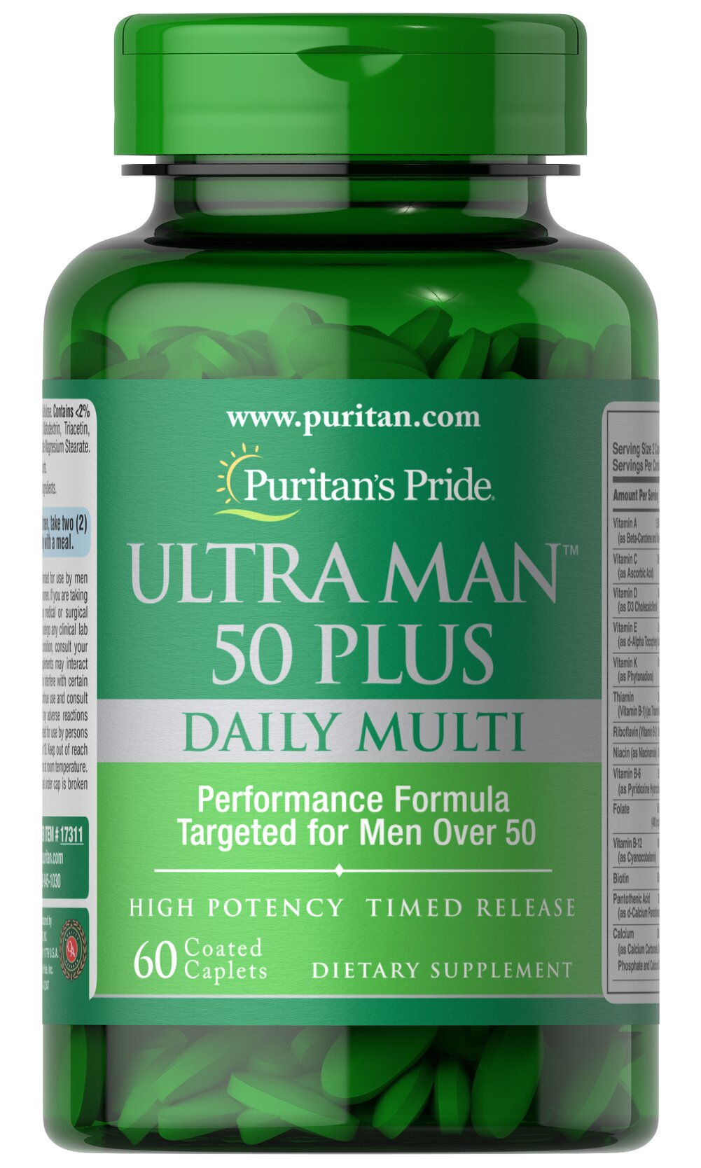 Ultra Vita Man™ 50 Plus • High performance multi with over 50 important nutrients for men's health**<br />• Created especially for men over 50<br />• Unlike other multis, Ultra Vita Man 50 Plus is enhanced with vital nutrients not commonly found in the diet.<br />• Just two coated caplets a day<br />• Features Zinc, an important mineral that contributes to normal semen production and sexual health** 60 Caplets  $15.99