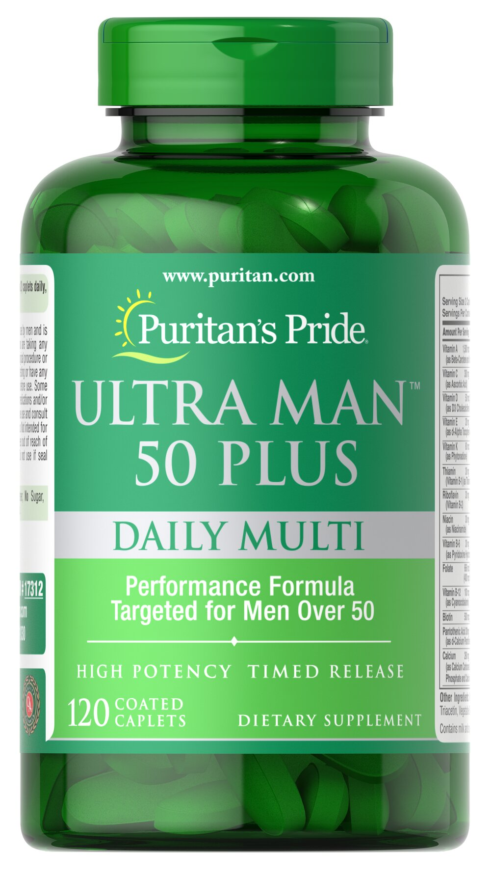 Ultra Vita Man™ 50 Plus • High performance multi with over 50 important nutrients for men's health**<br />• Created especially for men over 50<br />• Just two coated caplets a day<br />• Includes Saw Palmetto and Lycopene for healthy prostate function**<br />• Helps improve memory, especially occasional mild memory problems associated with aging**<br />• Features Zinc, an important mineral that contributes to normal semen production and sexual health** 120 Caplets